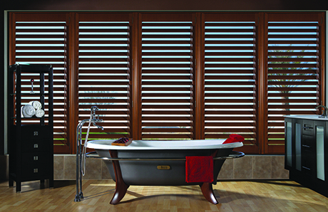 Wooden window shutters in a Kitchener bathroom